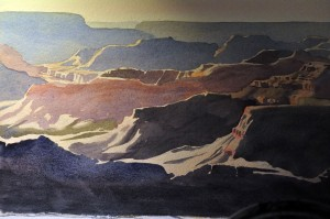 Canyon highlights under painting